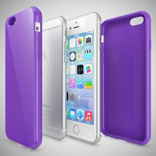 iPhone 6 Plus 6S Plus Hülle Handyhülle von NICA, Ultra-Slim TPU Silikon Jelly Case, Dünnes Cover Gummi Schutzhülle Skin, Handy-Tasche Backcover Bumper für Apple iPhone 6S Plus 6+ - Lila – Bild 3