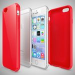 NALIA Handyhülle kompatibel mit iPhone 6 6S, Ultra-Slim TPU Silikon Jelly Case, Dünnes Cover Gummi Schutz-Hülle Skin, Etui Handy-Tasche Telefon-Schale Thin-Fit Back-Cover Smart-Phone Bumper - Rot – Bild 3