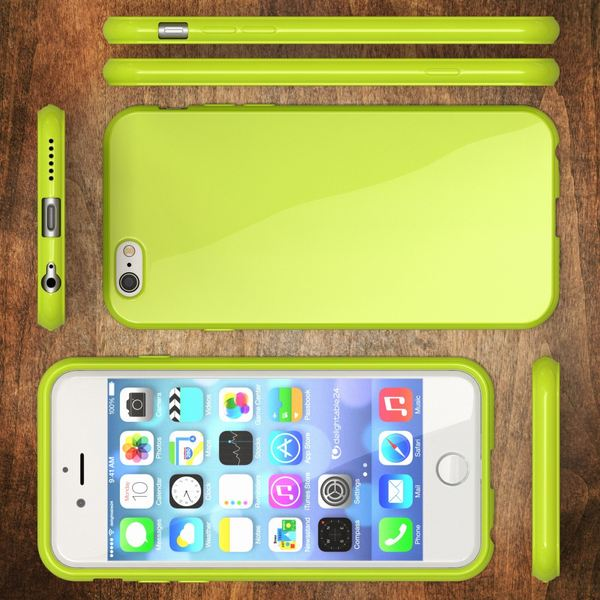NALIA Handyhülle kompatibel mit iPhone 6 6S, Ultra-Slim TPU Silikon Jelly Case, Dünnes Cover Gummi Schutz-Hülle Skin, Etui Handy-Tasche Telefon-Schale Back-Cover Smart-Phone Bumper - Neon Grün Gelb – Bild 5