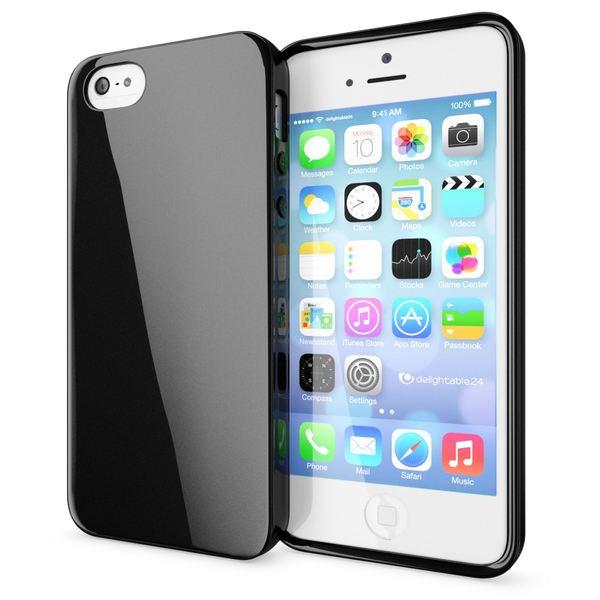 NALIA Handyhülle kompatibel mit iPhone SE 5 5S, Ultra-Slim TPU Silikon Jelly Case, Dünnes Cover Gummi Schutzhülle Skin, Etui Handy-Tasche Telefon-Schale Thin Back-Cover Smart-Phone Bumper - Schwarz – Bild 1