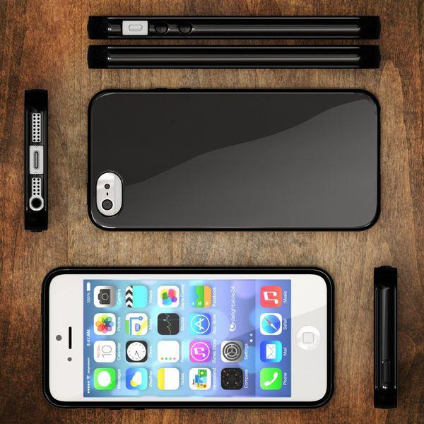 NALIA Handyhülle kompatibel mit iPhone SE 5 5S, Ultra-Slim TPU Silikon Jelly Case, Dünnes Cover Gummi Schutzhülle Skin, Etui Handy-Tasche Telefon-Schale Thin Back-Cover Smart-Phone Bumper - Schwarz – Bild 6