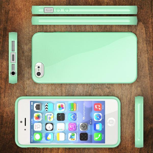 NALIA Handyhülle kompatibel mit iPhone SE 5 5S, Ultra-Slim TPU Silikon Jelly Case, Dünnes Cover Gummi Schutzhülle Skin, Etui Handy-Tasche Telefon-Schale Thin Back-Cover Smart-Phone Bumper - Mint Grün – Bild 6