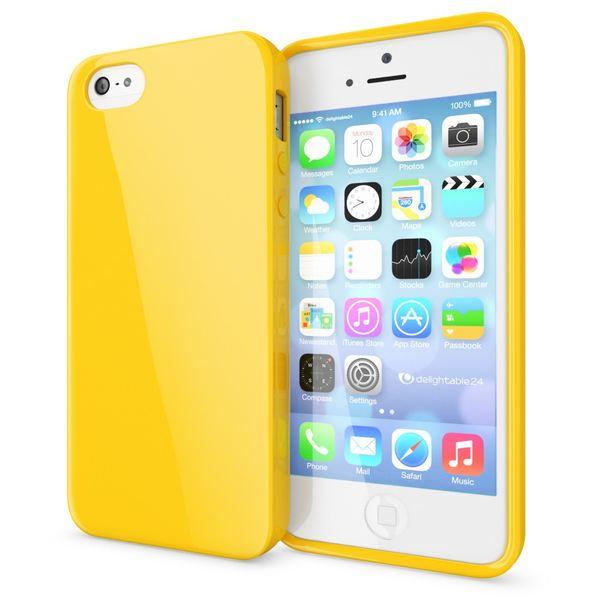 NALIA Handyhülle kompatibel mit iPhone SE 5 5S, Ultra-Slim TPU Silikon Jelly Case, Dünnes Cover Gummi Schutzhülle Skin, Etui Handy-Tasche Telefon-Schale Thin-Fit Back-Cover Smart-Phone Bumper - Gelb – Bild 1