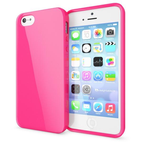 NALIA Handyhülle kompatibel mit iPhone SE 5 5S, Ultra-Slim TPU Silikon Jelly Case, Dünnes Cover Gummi Schutzhülle Skin, Etui Handy-Tasche Telefon-Schale Thin-Fit Back-Cover Smart-Phone Bumper - Pink – Bild 1
