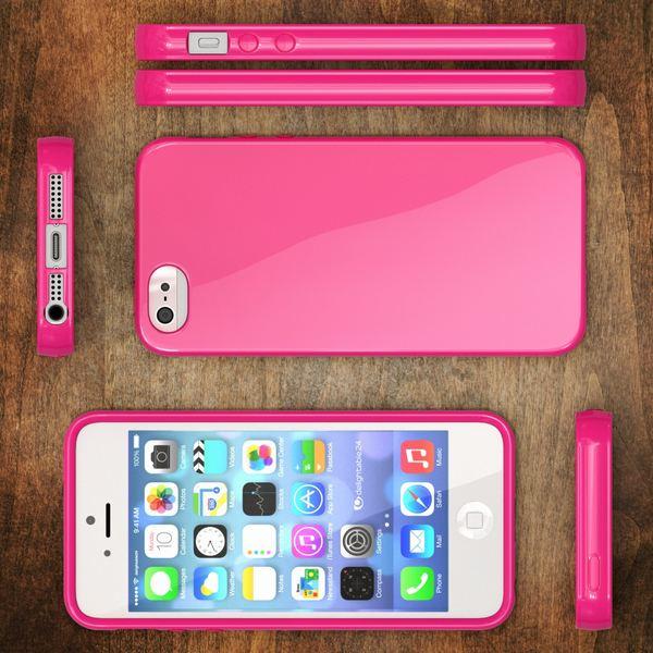NALIA Handyhülle kompatibel mit iPhone SE 5 5S, Ultra-Slim TPU Silikon Jelly Case, Dünnes Cover Gummi Schutzhülle Skin, Etui Handy-Tasche Telefon-Schale Thin-Fit Back-Cover Smart-Phone Bumper - Pink – Bild 6