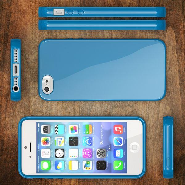 NALIA Handyhülle kompatibel mit iPhone SE 5 5S, Ultra-Slim TPU Silikon Jelly Case, Dünnes Cover Gummi Schutzhülle Skin, Etui Handy-Tasche Telefon-Schale Thin-Fit Back-Cover Smart-Phone Bumper - Blau – Bild 6