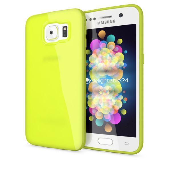 NALIA Handyhülle kompatibel mit Samsung Galaxy S6, Ultra-Slim TPU Silikon Jelly Case Hülle, Dünnes Cover Gummi Schutzhülle Skin Etui Handy-Tasche Schale Back-Cover Smart-Phone Bumper - Neon Grün Gelb – Bild 1