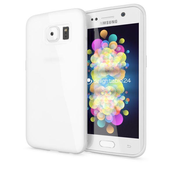 NALIA Handyhülle kompatibel mit Samsung Galaxy S6 Edge, Ultra-Slim TPU Silikon Jelly Case Hülle, Dünne Gummi Schutz-Hülle Skin, Etui Handy-Tasche Telefon-Schale Back-Cover Smart-Phone Bumper - Weiß – Bild 1