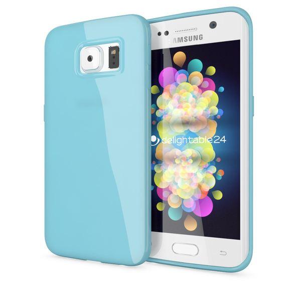 NALIA Handyhülle kompatibel mit Samsung Galaxy S6 Edge Plus, Ultra-Slim TPU Silikon Jelly Case Hülle, Dünne Gummi Schutzhülle Skin, Handy-Tasche Schale Back-Cover Smart-Phone Bumper - Hell Blau – Bild 1
