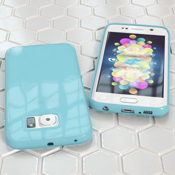 NALIA Handyhülle kompatibel mit Samsung Galaxy S6 Edge Plus, Ultra-Slim TPU Silikon Jelly Case Hülle, Dünne Gummi Schutzhülle Skin, Handy-Tasche Schale Back-Cover Smart-Phone Bumper - Hell Blau – Bild 5