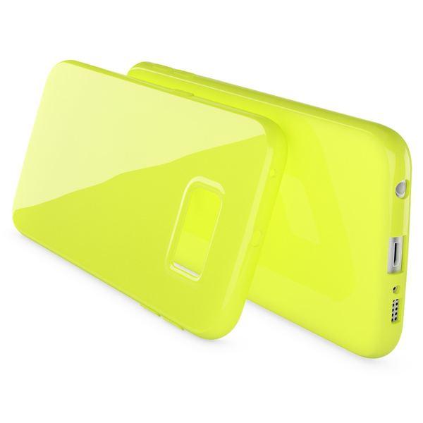NALIA Handyhülle kompatibel mit Samsung Galaxy S6 Edge Plus, Ultra-Slim TPU Silikon Jelly Case Hülle, Dünne Gummi Schutzhülle Skin, Handy-Tasche Schale Back-Cover Smart-Phone Bumper - Neon Grün Gelb – Bild 2
