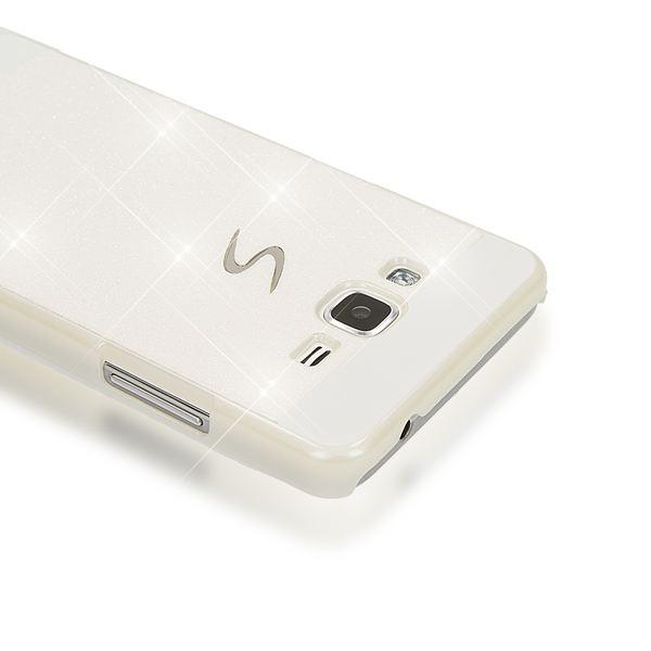 NALIA Handyhülle kompatibel mit Samsung Galaxy Grand Prime, Glitzer Slim Hard-Case Back-Cover Schutzhülle, Handy-Tasche Schale im Glitter Design, Dünnes Bling Strass Etui Smart-Phone Skin - Weiß – Bild 2
