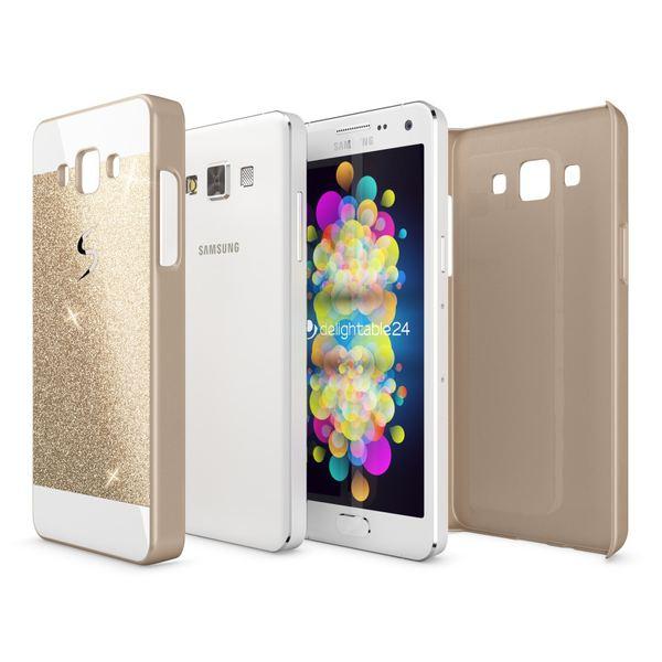 NALIA Handyhülle kompatibel mit Samsung Galaxy A3 2015, Glitzer Slim Hard-Case Hülle Back-Cover Schutzhülle, Handy-Tasche im Glitter Sparkle Design, Dünnes Bling Strass Etui Smart-Phone Skin - Gold – Bild 3