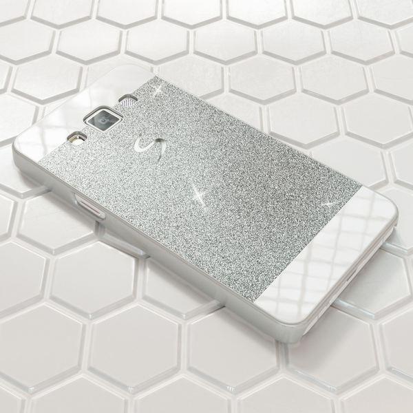 NALIA Handyhülle kompatibel mit Samsung Galaxy A3 2015, Glitzer Slim Hard-Case Hülle Back-Cover Schutzhülle, Handy-Tasche im Glitter Sparkle Design, Dünnes Bling Strass Etui Smart-Phone Skin - Silber – Bild 4