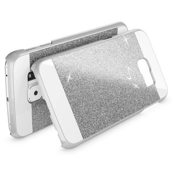 NALIA Handyhülle kompatibel mit Samsung Galaxy S6 Edge, Glitzer Slim Hard-Case Hülle Back-Cover Schutzhülle, Handy-Tasche Schale im Glitter Design, Dünnes Bling Strass Etui Smart-Phone Skin - Silber – Bild 2