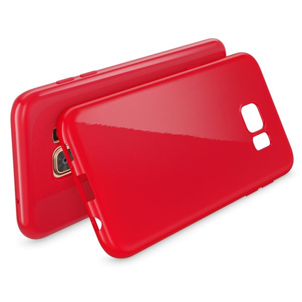 NALIA Handyhülle kompatibel mit Samsung Galaxy S7 Edge, Ultra-Slim TPU Silikon Hülle Jelly Case, Dünne Gummi Schutzhülle Skin, Etui Handy-Tasche Schale Thin-Fit Back-Cover Smart-Phone Bumper - Rot – Bild 2