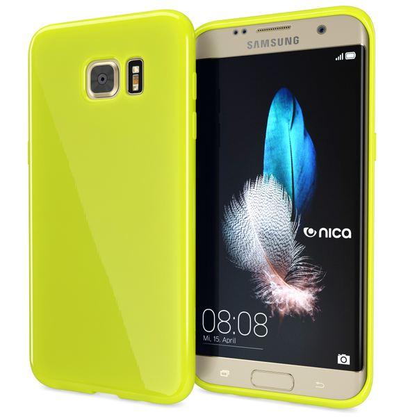 NALIA Handyhülle kompatibel mit Samsung Galaxy S7 Edge, Ultra-Slim TPU Silikon Hülle Jelly Case, Dünne Gummi Schutzhülle Skin, Etui Handy-Tasche Thin Back-Cover Smart-Phone Bumper - Neon Grün Gelb – Bild 1