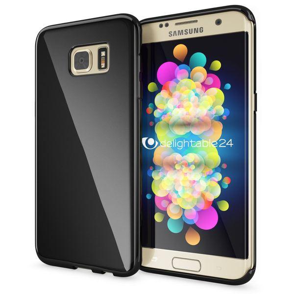NALIA Handyhülle kompatibel mit Samsung Galaxy S7 Edge, Ultra-Slim Silikon Case Hülle, Dünne Crystal Schutzhülle Etui Handy-Tasche Schale Back-Cover Bumper, TPU Smart-Phone Gummihülle - Schwarz – Bild 1