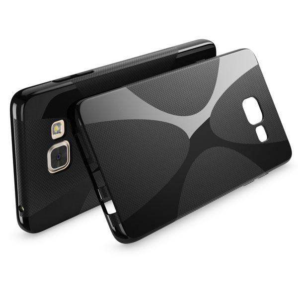NALIA Handyhülle kompatibel mit Samsung Galaxy A5 2016, Ultra-Slim Silikon Case Hülle, Dünne Crystal Schutzhülle Etui Handy-Tasche Schale Back-Cover Bumper TPU Smart-Phone Gummihülle - X-Line Schwarz – Bild 2