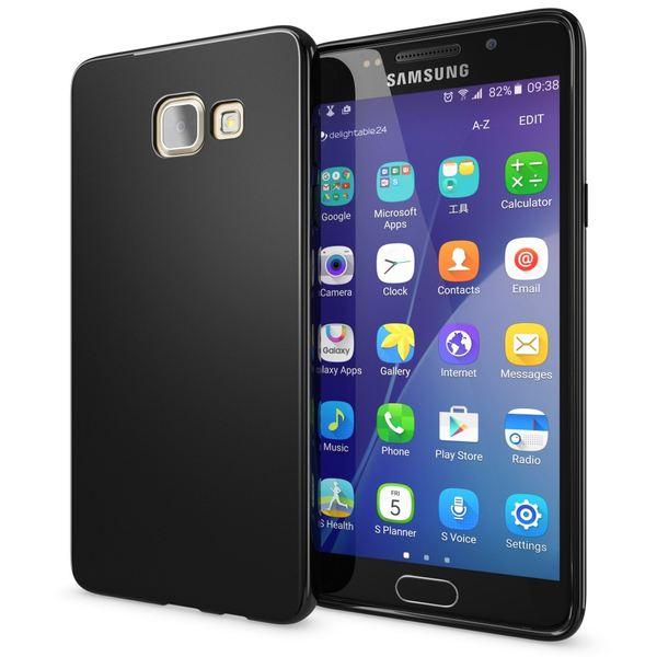 NALIA Handyhülle kompatibel mit Samsung Galaxy A3 2016, Ultra-Slim Silikon Case Hülle, Dünne Crystal Schutzhülle Etui Handy-Tasche Schale Back-Cover Bumper, TPU Smart-Phone Gummihülle - Matt Schwarz – Bild 1