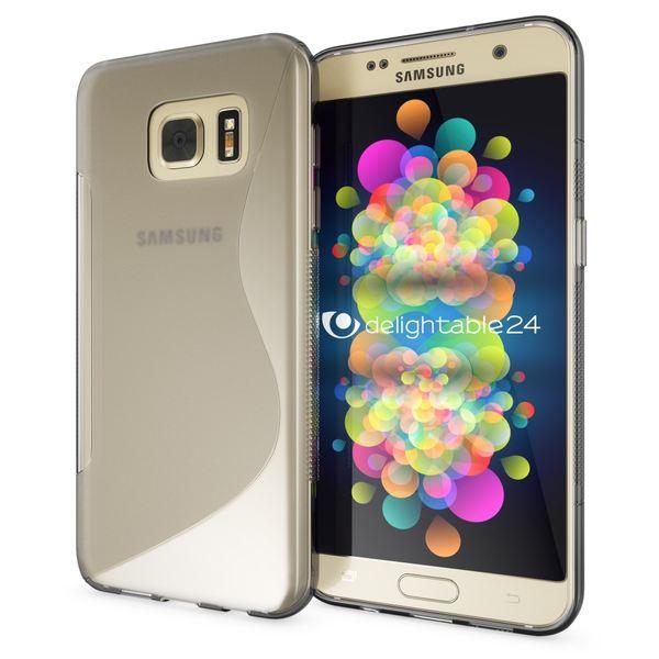 NALIA Handyhülle kompatibel mit Samsung Galaxy S7, Ultra-Slim Silikon Case Cover Hülle, Dünne Crystal Schutzhülle Etui Handy-Tasche Schale Back-Cover Bumper, TPU Smart-Phone Gummihülle - S-Line Grau – Bild 1