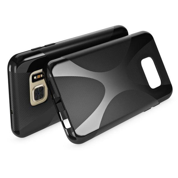 NALIA Handyhülle kompatibel mit Samsung Galaxy S7, Ultra-Slim Silikon Case Cover Hülle, Dünne Crystal Schutzhülle Etui Handy-Tasche Back-Cover Bumper, TPU Smart-Phone Gummihülle - X-Line Schwarz – Bild 2