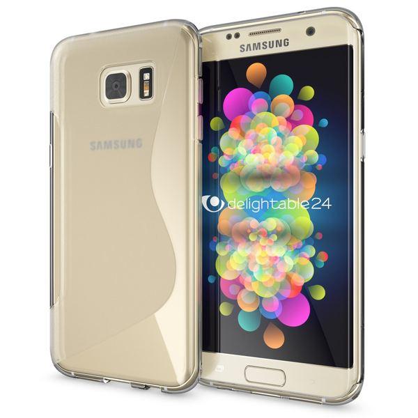 NALIA Handyhülle kompatibel mit Samsung Galaxy S7 Edge, Ultra-Slim Silikon Case Hülle, Dünne Crystal Schutzhülle Etui Handy-Tasche Back-Cover Bumper, TPU Smart-Phone Gummihülle - S-Line Transparent – Bild 1