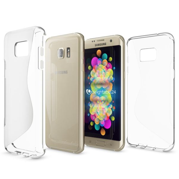 NALIA Handyhülle kompatibel mit Samsung Galaxy S7 Edge, Ultra-Slim Silikon Case Hülle, Dünne Crystal Schutzhülle Etui Handy-Tasche Back-Cover Bumper, TPU Smart-Phone Gummihülle - S-Line Transparent – Bild 5