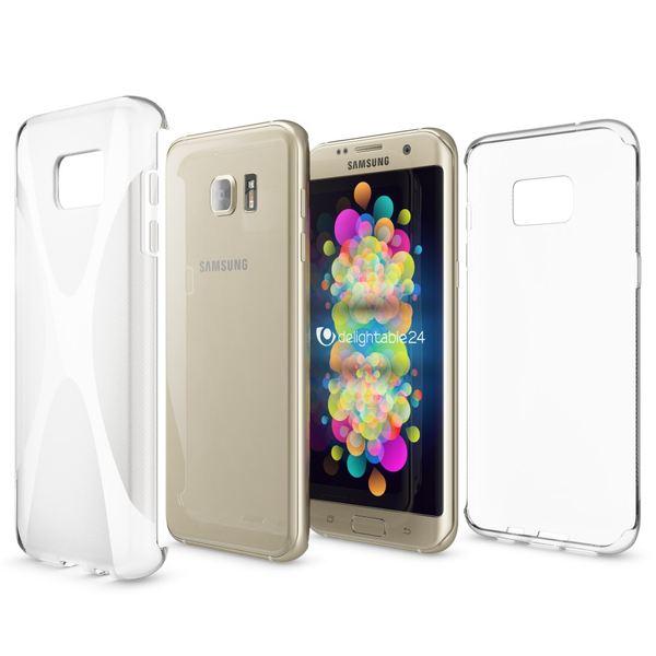 NALIA Handyhülle kompatibel mit Samsung Galaxy S7 Edge, Ultra-Slim Silikon Case Hülle, Dünne Crystal Schutzhülle Etui Handy-Tasche Back-Cover Bumper, TPU Smart-Phone Gummihülle - X-Line Transparent – Bild 5
