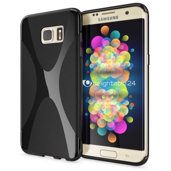 NALIA Handyhülle kompatibel mit Samsung Galaxy S7 Edge, Ultra-Slim Silikon Case Hülle, Dünne Crystal Schutzhülle Etui Handy-Tasche Schale Back-Cover Bumper TPU Smart-Phone Gummihülle - X-Line Schwarz – Bild 1