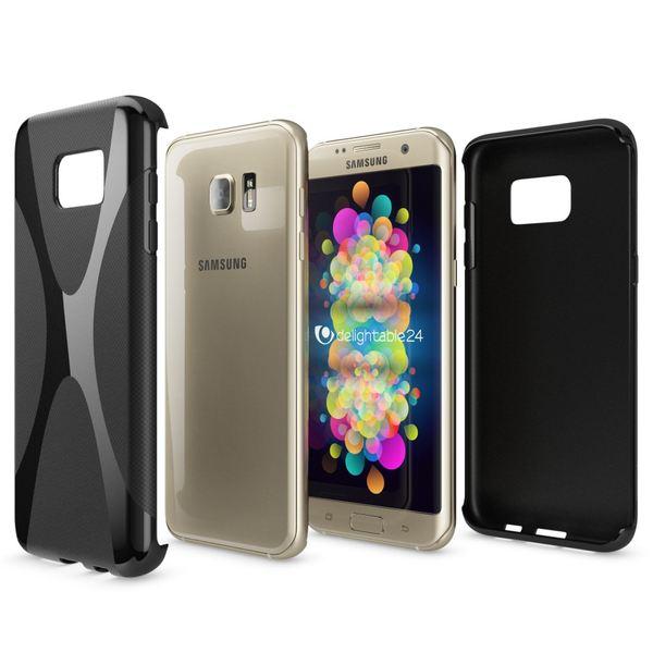 NALIA Handyhülle kompatibel mit Samsung Galaxy S7 Edge, Ultra-Slim Silikon Case Hülle, Dünne Crystal Schutzhülle Etui Handy-Tasche Schale Back-Cover Bumper TPU Smart-Phone Gummihülle - X-Line Schwarz – Bild 5