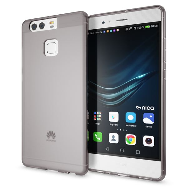 NALIA Handyhülle für Huawei P9, Ultra-Slim Silikon Case Cover Hülle, Dünne Crystal Schutzhülle, Etui Handy-Tasche Phone Bumper, softe TPU Gummihülle für P-9 Smartphone - Transparent Grau – Bild 1