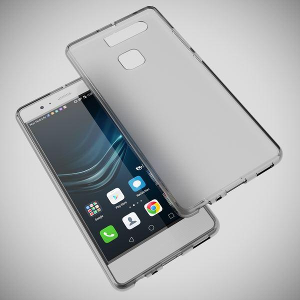 NALIA Handyhülle für Huawei P9, Ultra-Slim Silikon Case Cover Hülle, Dünne Crystal Schutzhülle, Etui Handy-Tasche Phone Bumper, softe TPU Gummihülle für P-9 Smartphone - Transparent Grau – Bild 3