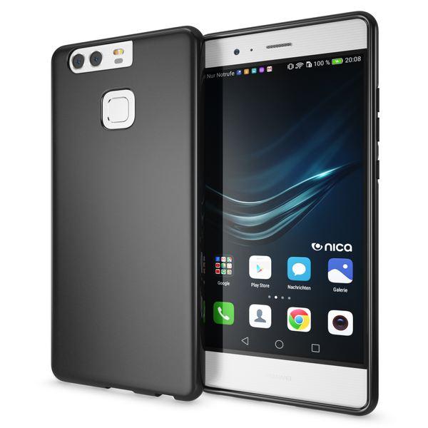 NALIA Handyhülle für Huawei P9, Ultra-Slim Silikon Case Cover Hülle, Dünne Crystal Schutzhülle, Etui Handy-Tasche Back-Cover Phone Bumper, softe TPU Gummihülle für P-9 Smartphone - Matt Schwarz – Bild 1