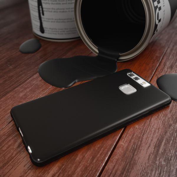 NALIA Handyhülle für Huawei P9, Ultra-Slim Silikon Case Cover Hülle, Dünne Crystal Schutzhülle, Etui Handy-Tasche Back-Cover Phone Bumper, softe TPU Gummihülle für P-9 Smartphone - Matt Schwarz – Bild 6