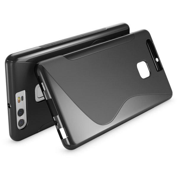 NALIA Handyhülle für Huawei P9, Ultra-Slim Silikon Case Cover Hülle, Dünne Crystal Schutzhülle, Etui Handy-Tasche Back-Cover Phone Bumper, softe TPU Gummihülle für P-9 Smartphone - S-Line Schwarz – Bild 2