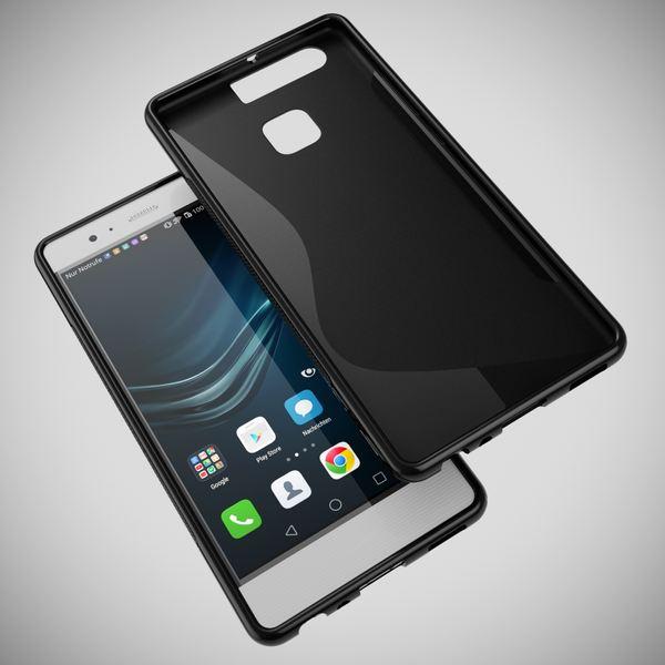 NALIA Handyhülle für Huawei P9, Ultra-Slim Silikon Case Cover Hülle, Dünne Crystal Schutzhülle, Etui Handy-Tasche Back-Cover Phone Bumper, softe TPU Gummihülle für P-9 Smartphone - S-Line Schwarz – Bild 3