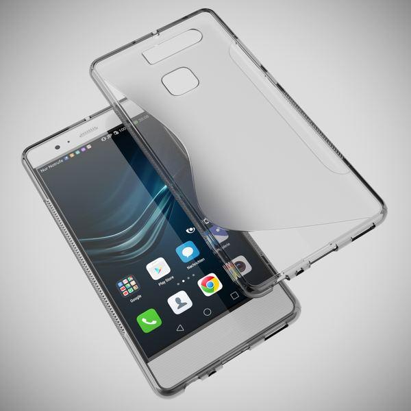 NALIA Handyhülle für Huawei P9, Ultra-Slim Silikon Case Cover Hülle, Dünne Crystal Schutzhülle, Etui Handy-Tasche Back-Cover Phone Bumper, softe TPU Gummihülle für P-9 Smartphone - S-Line Grau – Bild 3