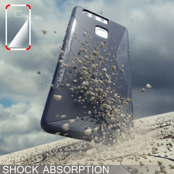 NALIA Handyhülle für Huawei P9, Ultra-Slim Silikon Case Cover Hülle, Dünne Crystal Schutzhülle, Etui Handy-Tasche Back-Cover Phone Bumper, softe TPU Gummihülle für P-9 Smartphone - S-Line Grau – Bild 5
