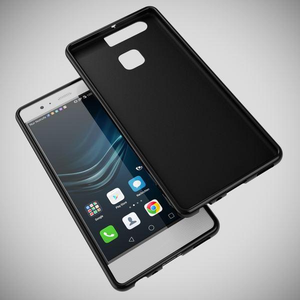 NALIA Handyhülle für Huawei P9, Ultra-Slim Silikon Case Cover Hülle, Dünne Crystal Schutzhülle, Etui Handy-Tasche Back-Cover Phone Bumper, softe TPU Gummihülle für P-9 Smartphone - X-Line Schwarz – Bild 3