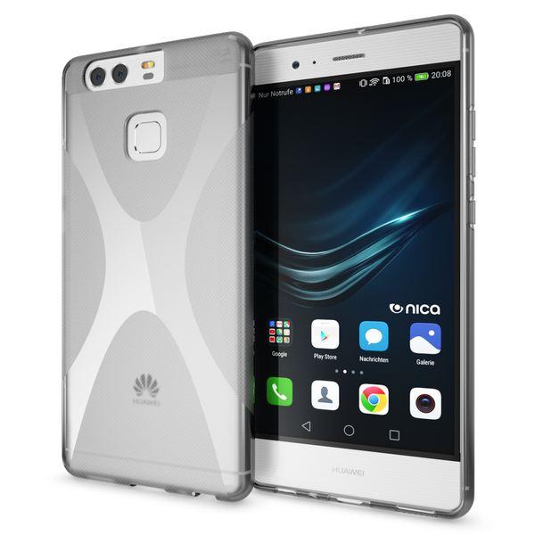 NALIA Handyhülle für Huawei P9, Ultra-Slim Silikon Case Cover Hülle, Dünne Crystal Schutzhülle, Etui Handy-Tasche Back-Cover Phone Bumper, softe TPU Gummihülle für P-9 Smartphone - X-Line Grau – Bild 1