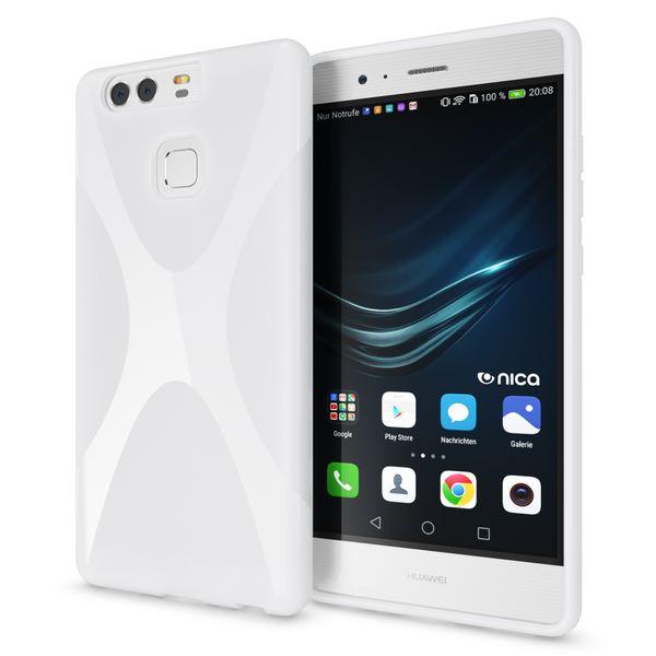 NALIA Handyhülle für Huawei P9, Ultra-Slim Silikon Case Cover Hülle, Dünne Crystal Schutzhülle, Etui Handy-Tasche Back-Cover Phone Bumper, softe TPU Gummihülle für P-9 Smartphone - X-Line Weiß – Bild 1