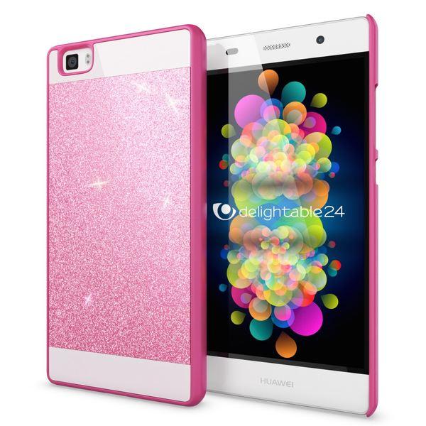 NALIA Handyhülle für Huawei P8 Lite, Glitzer Slim Hard-Case Hülle Back-Cover Schutzhülle, Handy-Tasche im Glitter Sparkle Design, Dünnes Bling Strass Stoßfestes Etui für P8Lite Smart-Phone - Pink – Bild 1