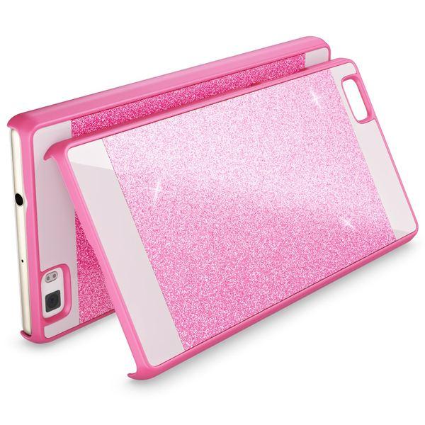 NALIA Handyhülle kompatibel mit Huawei P8 Lite, Glitzer Slim Hard-Case Hülle Back-Cover Schutzhülle, Handy-Tasche im Glitter Sparkle Design, Dünnes Bling Strass Stoßfestes Smart-Phone Etui - Pink – Bild 2
