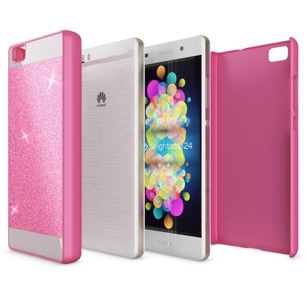 NALIA Handyhülle für Huawei P8 Lite, Glitzer Slim Hard-Case Hülle Back-Cover Schutzhülle, Handy-Tasche im Glitter Sparkle Design, Dünnes Bling Strass Stoßfestes Etui für P8Lite Smart-Phone - Pink – Bild 3