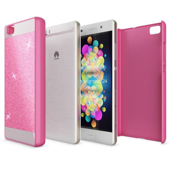 NALIA Handyhülle kompatibel mit Huawei P8 Lite, Glitzer Slim Hard-Case Hülle Back-Cover Schutzhülle, Handy-Tasche im Glitter Sparkle Design, Dünnes Bling Strass Stoßfestes Smart-Phone Etui - Pink – Bild 3