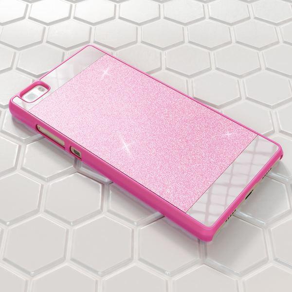 NALIA Handyhülle für Huawei P8 Lite, Glitzer Slim Hard-Case Hülle Back-Cover Schutzhülle, Handy-Tasche im Glitter Sparkle Design, Dünnes Bling Strass Stoßfestes Etui für P8Lite Smart-Phone - Pink – Bild 5