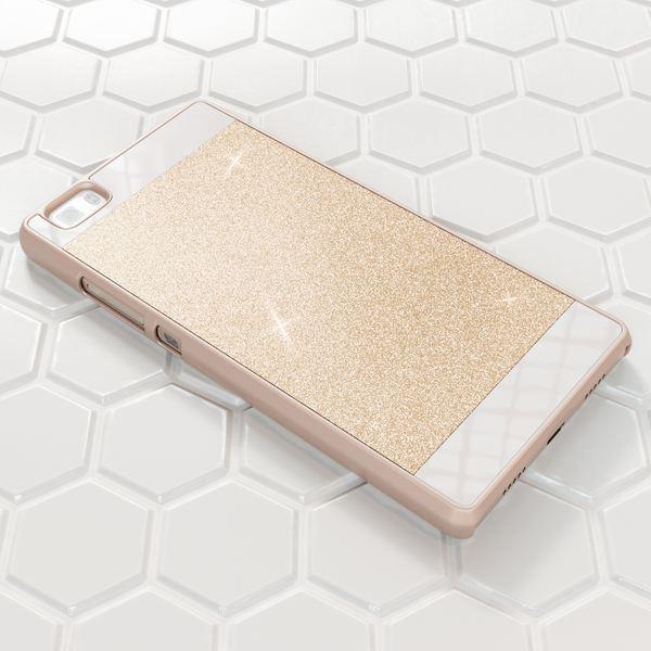 NALIA Handyhülle kompatibel mit Huawei P8 Lite, Glitzer Slim Hard-Case Hülle Back-Cover Schutzhülle, Handy-Tasche im Glitter Sparkle Design, Dünnes Bling Strass Stoßfestes Smart-Phone Etui - Gold – Bild 5