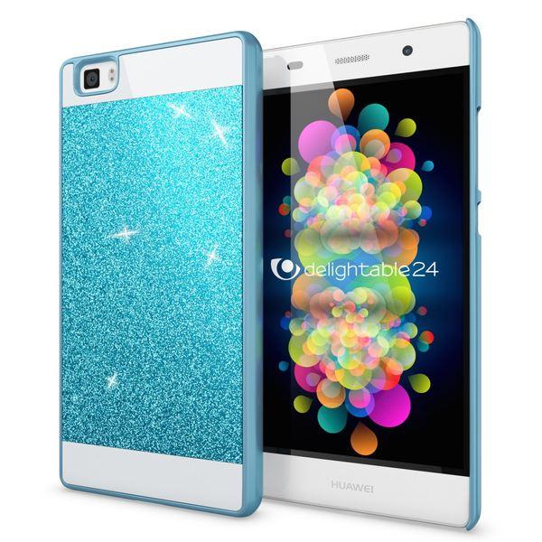 NALIA Handyhülle kompatibel mit Huawei P8 Lite, Glitzer Slim Hard-Case Hülle Back-Cover Schutzhülle, Handy-Tasche im Glitter Sparkle Design, Dünnes Bling Strass Stoßfestes Smart-Phone Etui - Blau – Bild 1