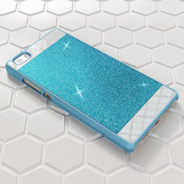 NALIA Handyhülle kompatibel mit Huawei P8 Lite, Glitzer Slim Hard-Case Hülle Back-Cover Schutzhülle, Handy-Tasche im Glitter Sparkle Design, Dünnes Bling Strass Stoßfestes Smart-Phone Etui - Blau – Bild 5